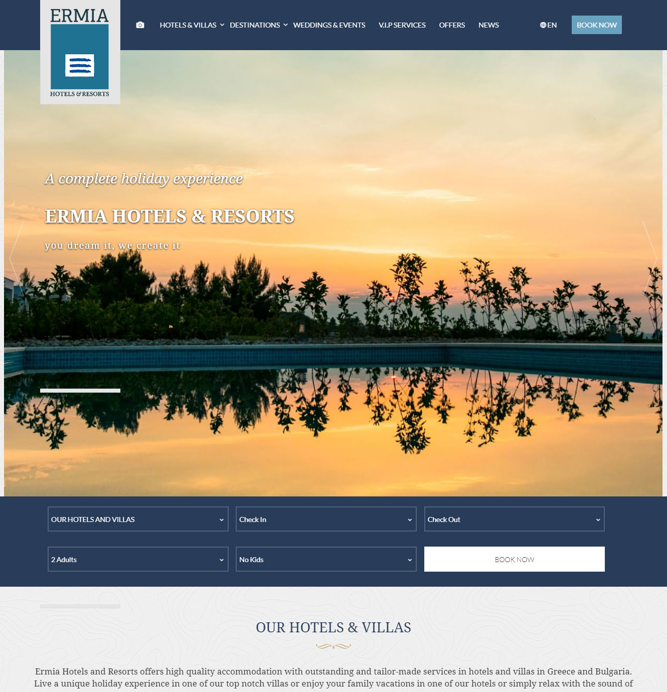 ermia resorts web design by Longtail Interactive