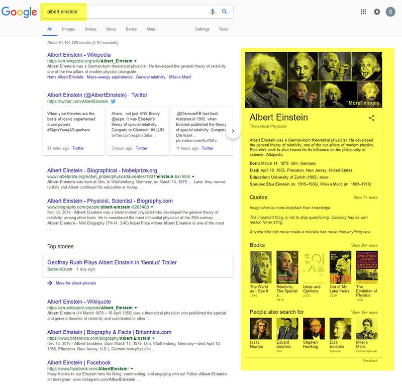 google search query about einstein