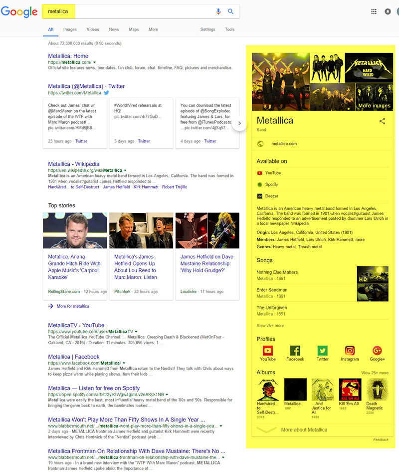google search query about metallica rock band