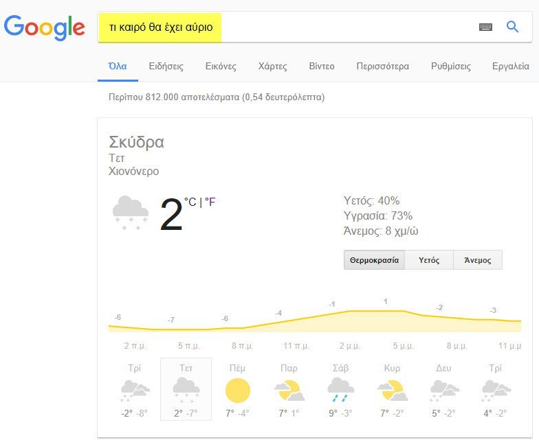 google search query weather tomorrow