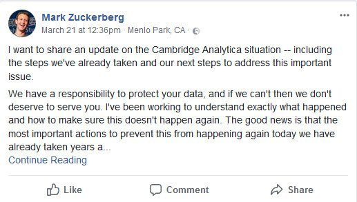 facebook zuckerberg announcement cambridge analytica